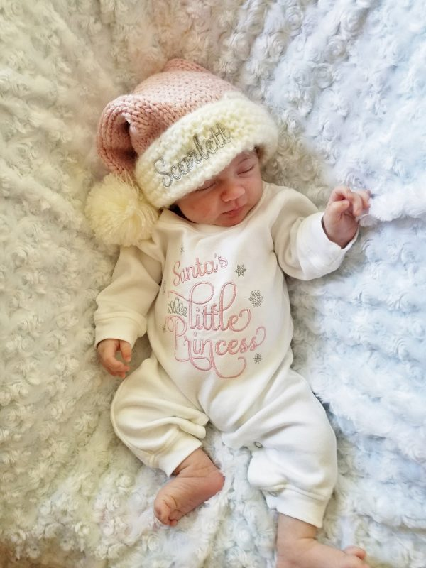 Baby Girl Christmas Outfit With Personalized Santa Hat